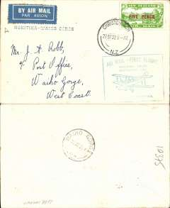 (New Zealand) Special Survey Hotitika-Okuru and Return, Hokitika to Waiho Gorge, franked 5d air stamp, cachet, b/s 28/9, Westland Aero Club