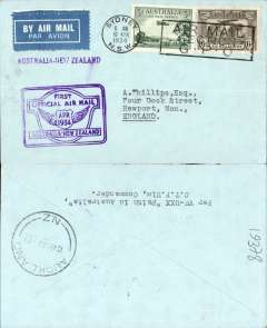 "(Australia) ""Faith in Australia"", first official airmail Australia-New Zealand, bs Auckland 12/4,  plain cover franked 9d, canc Sydney machine cancel, violet winged ""First Official Air Mail/ Australia-New Zealand"" cachet."