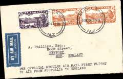 (New Zealand) First New Zealand acceptance for the inaugural flight on the Brisbane-Singapore section of the Empire route from Australia-England, Auckland-London, no arrival ds, plain cover, franked 4d air, 2x 7d air, canc Auckland cds, blue/white etiquette. NZ acceptances closed at Auckland on 30/11, then sea by SS Monterey to Sydney, rail to Cootamundra, Butler Air Transport to Charleville, where mail collected by plane for Australia-England service, Qantas/ITCA/ Imperial Airways.