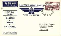 (New Zealand) East Coast AW, F/F Napier to Gisborne, b/s 16/4, blue/cream souvenir cover with company logo, franked 3d.
