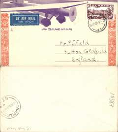 (New Zealand) East Coast AW, F/F Gisborne to Napier, b/s 16/4, orange/mauve/cream 'Maori' souvenir cover, franked 3d.