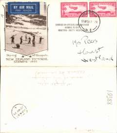 (New Zealand) Unofficial unsubsidised flight, Hokitika to South Westland, bs Hass 13/5, cream/brown 'Ski-ing Mt. Ruapehu' souvenir cover, franked 2x 1d air.