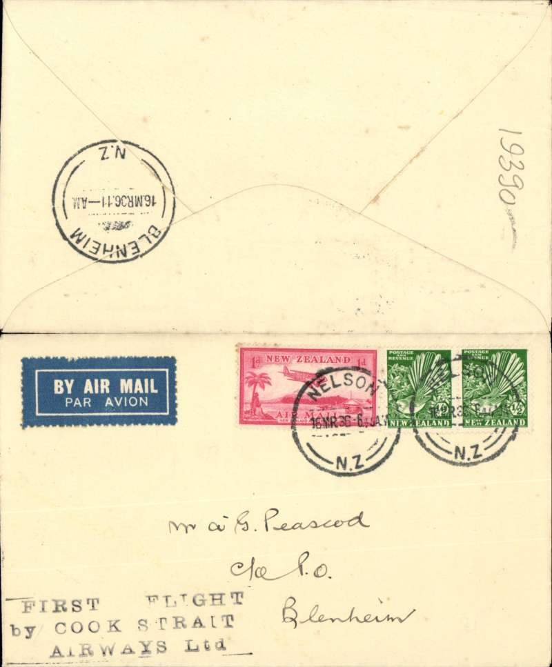 (New Zealand) Union AW/Cook Strait Aw, F/F Nelson to Blenheim, bs 16/3, plain cover franked 2d, flight cachet.
