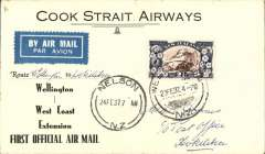 (New Zealand) Cook Strait AW. F/F Wellington to Hokitika, bs 24/2, via Nelson 23/2, black/white souvenir cover, franked 2 1/2d, fine blue/dark blue 'Use the Air Mail' vignette verso. Only 16 flown.