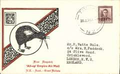 "(New Zealand) NZ acceptance for inauguration EAMS Australia-England, no arrival ds, illustrated black/red ""Kiwi/All Up ""souvenir cover, franked 1 1/2d canc Wellington cds, Imperial AW, flown in ""Carpentaria"" by Capt. Denny Orme."