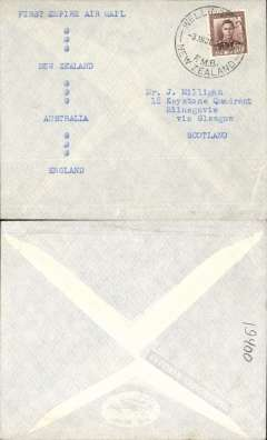 """(New Zealand) Inauguration EAMS NZ-England, no arrival ds, attractive red/white/blue printed souvenir cover with crossed flags and """"First Flight Cover/Empire Air Mail Service/From Sydney/August 9th 1938"""", Imperial AW."""