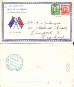 (New Zealand) NZ acceptance for inauguration of EAMS Australia-England, no arrival ds, illustrated red/white/blue 'Union Jack' Empire Air Service souvenir cover, franked 1 1/2d canc Stratford cds, Imperial Airways.