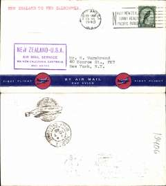 (New Zealand) Trans pacific airmail, F/F FAM 19  Auckland to Noumea (New Caledonia), purple cachet, b/s, souvenir air cover, Pan Am