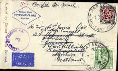 """(New Zealand) Air all the way two ocean airmail from New Zealand to England, World War II censored  Trans-Pacific airmail, NZ to Scotland, bs Greenock 26/7, """"Military Camp/Everyman's Hut. Papakura' corner cover franked 5/9d, canc Papakura Military Camp cds, airmail etiquette, ms """"Via Pacific Air Mail"""", sealed B&W NZ censor tape, tied by purple NZ censor mark. Correctly rated for air across the Pacific, air across the US and air across the Atlantic, see Boyle p877."""