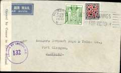 """(New Zealand) Air all the way two ocean airmail from New Zealand to England, World War II censored  Trans-Pacific airmail, NZ to Scotland, no arrival ds, plain imprint etiquette cover franked 5/9d, canc Dunedin cds, airmail etiquette, ms """"Via Pacific Air Mail"""", sealed B&W NZ censor tape, tied by purple NZ censor mark. Correctly rated for air across the Pacific, air across the US and air across the Atlantic, see Boyle p877."""