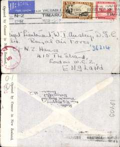 (New Zealand) World War II censored two ocean sea/air cover to England, correctly franked 3/6d for sea to Panama, air to Miami and New York, air by Pan Am FAM18 to Lisbon (see Boyle p877), and onward to UK. Pale grey airmail etiquette cover, postmarked Timaru machine cancel, sealed black/white New Zealand censor tape tied by red circular NZ/5 censor mark.