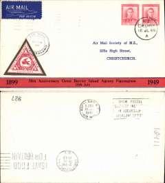 (New Zealand) 50th Anniversary Great Barrier Island Pigeongram, souvenir cover postmarked Okura, bs Auckland 19/7, Airmail Society Of NZ authentication hs.