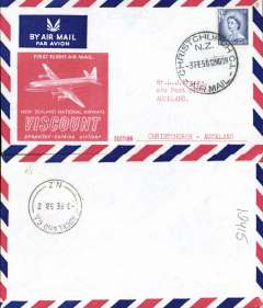 (New Zealand) NAC Turbo-prop Viscount, Christchurch to Auckland, bs 3/2, souvenir cover franked 4d.