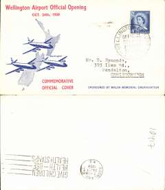 (New Zealand) Official Opening Wellington Airport, Wellington to Auckland, bs 24/10, souvenir cover franked 4d.