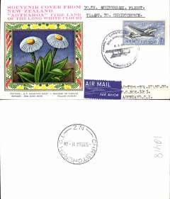 (New Zealand) 50th Anniversary of 1st Timaru-Chrstchurch flight, attractive souvenir cover, postmarked Timaru, bs Christchurch 6/3.
