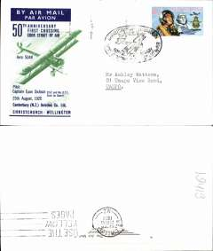 (New Zealand) 50th Anniversary of 1st crossing Christchurch-Wellington, bs 25/10, souvenir cover.