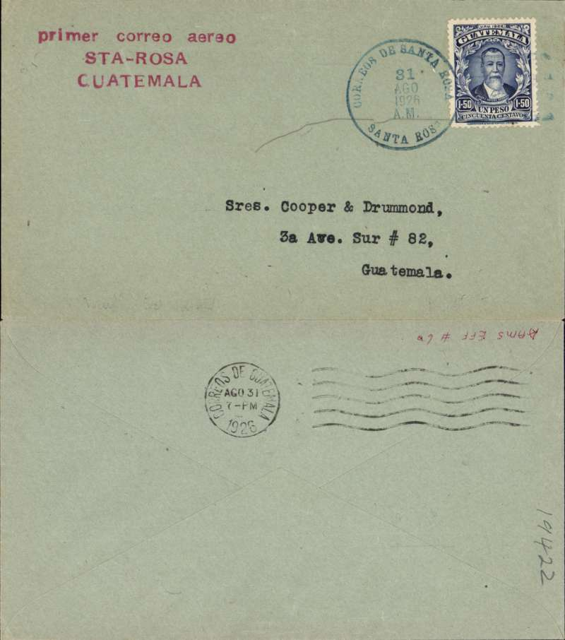 (Guatemala) F/F Santa Rosa Guatemala City, bs 31/8, red three line flight cachet, grey/green  cover franked 1.5P.