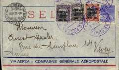 (Brazil) Brazil-Switzerland, pre-printed Aeropostale envelope postmarked Sao Paulo (Brazil) September 21, 1929 to Vevey (Switzerland) with transit postmark Geneva September 30th. Small crease not affecting stamps.