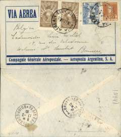(Argentina) Argentina-Belgium, pre-printed Aeropostale-Aeropostale Argentina envelope postmarked Buenos Aires February 7, 1930 with transit b/s Paris February 17 and Brussels arrival b/s February 17th. Franking includes a pair of Scott C10. Belgium as a destination for these flights is not as common as one would expect.