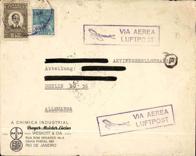 """(Brazil) Brazil-Germany, registered cover postmarked Rio de Janeiro (Brazil) March 8, 1930 with arrival b/s Berlin March 17th.  Even though the cover has two boxed cachets """"Via Aerea Luftpost"""", it travelled by Aeropostale as witnessed by the Aeropostale Rio de Janeiro postmark. Franking includes the scarce high value Santos Dumont airmail stamps Scott C24. Name of addressee crossed out with felt pen."""