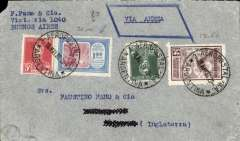 (Argentina) Brazil-England, cover postmarked Buenos Aires May 16, 1930 with transit b/s Paris May 28 and arrival b/s London May 29th. Franking includes the scarce Scott C18 (8$ used in 1998). Tiny non invasive corner defect.