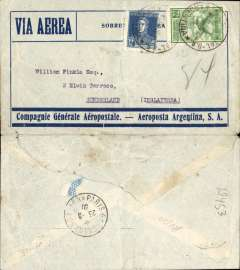 (Argentina) Argentina to England, pre-printed Aeropostale-Aeroposta Argentina envelope postmarked Buenos Aires August 8, 1930 addressed to Sunderland (Great Britain) with no arrival b/s but with Paris transit b/s August 23rd. This AMFRA 128 flight also carried the mail recovered from the Lagoa dos Patos (Brazil) crash which had occurred on August 4th. Light crease, closed flap tear.