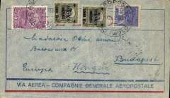 (Brazil) Brazil-Hungary, pre-printed Aeropostale envelope postmarked Sao Paulo (Brazil) September 20, 1930 addressed to Budapest (Hungary) with arrival b/s October 1st. Rare destination for an Aeropostale cover from South America.