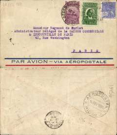 (Brazil) Brazil-France, pre-printed Aeropostale envelope postmarked Rio de Janeiro February 14, 1931 addressed to Paris with arrival b/s February 23rd.