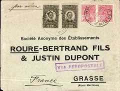 (Brazil) Brazil-France, commercial cover postmarked Rio de Janeiro April 4, 1931 addressed to Grasse (France) with arrival b/s April 13th. Rectangular boxed purple cachet ?Via Aeropostale?.