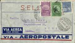 (Brazil) Pre-printed Aeropostale envelope postmarked Bahia (Brazil) May 17, 1931 addressed to Bern (Switzerland) with no arrival b/s but with Geneva b/s May 25th. The mail from Bahia, a stop-over en route to Natal, was always picked up one day after the AMFRA flight left Buenos Aires (in this case May 16th).