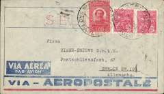 (Brazil) Pre-printed Aeropostale envelope postmarked Sao Paulo (Brazil) addressed to Berlin (Germany) with arrival b/s June 3rd.