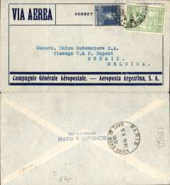 (Brazil) Pre-printed Aeropostale/Aeroposta Argentina envelope postmarked Buenos Aires June 5, 1931 addressed to Renaix (Belgium) with no arrival b/s but with a Paris transit b/s June 15th.