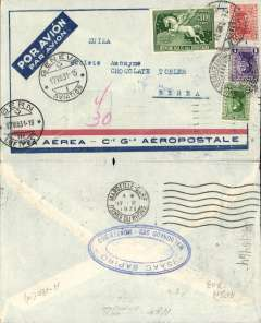 (Uruguay) Pre-printed Aeropostale envelope postmarked Montevideo (Uruguay) August 7, 1931 with transit b/s Marseille August 17 and Geneva August 17 and final arrival b/s Bern August 17th.