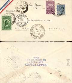 (Brazil) Cover with a small printed ?Via Aeropostale? on one corner (scarce variety of envelope) postmarked Santa Cruz (Brazil) October 28, 1931 with transit b/s Porto Alegre October 30th addressed to Basel (Switzerland) with no arrival b/s but with transit Lausanne b/s November 9th. All postmarks are on the front of the cover.