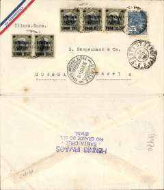(Brazil) Cover with a small printed ?Via Aeropostale? on one corner (scarce variety of envelope) postmarked Santa Cruz (Brazil) November 19, 1931 addressed to Basel (Switzerland) with no arrival b/s but with transit b/s Geneva November 30th. Nice clear postmarks both on the front of the cover.