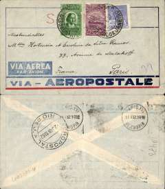 (Brazil) Pre-printed Aeropostale envelope postmarked Rio de Janeiro January 2, 1932 addressed to Paris with arrival b/s January 11th. Faint crease not affecting stamps.