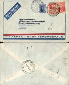 (Uruguay) Pre-printed Aeropostale envelope postmarked Montevideo (Uruguay) January 15, 1932 to London (GB) with no arrival b/s but with transit b/s Paris January 24th.