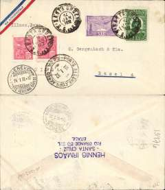 (Brazil) Cover with a small printed ?Via Aeropostale? on one corner (scarce variety of envelope) postmarked Santa Cruz (Brazil) January 14, 1932 and Porto Alegre (January 15) addressed to Basel (Switzerland) with no arrival b/s but with Geneva transit b/s January 24th. Nice clean cover with all postmarks on the front of the cover.