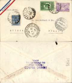 (Brazil) Cover with a small printed ?Via Aeropostale? on one corner (scarce variety of envelope) postmarked Santa Cruz (Brazil) January 27, 1932 addressed to Basel (Switzerland) with no arrival b/s but with transit b/s Geneva February 2nd. Nice clear postmarks all on the front of the cover.
