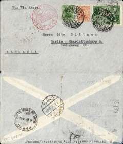 (Uruguay) Cover postmarked Montevideo (Uruguay) February 19, 1932 addressed to Berlin (Germany) with arrival b/s March 1 and also Paris transit b/s March 1st. Red airmail receiving stamp applied in Berlin.
