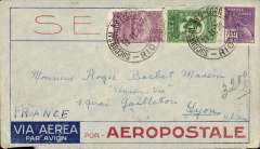 (Brazil) Pre-printed Aeropostale envelope postmarked Rio de Janeiro February 19, 1932 addressed to Lyon (France) with no arrival b/s but with a transit b/s Paris February 29th. A little roughly opened at the bottom.