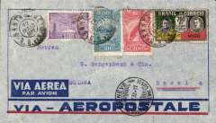 (Brazil) Pre-printed Aeropostale envelope postmarked Santa Cruz (Brazil) May 13, 1932 and Porto Alegre May 14 addressed to Basel (Switzerland) with no arrival b/s but a transit postmark from Geneva May 22nd. Colourful stamps.