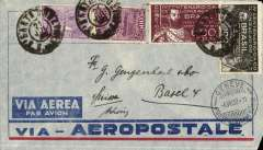 (Brazil) Pre-printed Aeropostale envelope postmarked Santa Cruz (Brazil) July 21, 1932 and Porto Alegre July 22 addressed to Basel (Switzerland) with no arrival b/s but a transit postmark from Geneva August 4th.