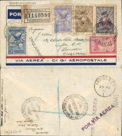 (Argentina) Registered pre-printed Aeropostale envelope postmarked Buenos Aires August 19, 1932 addressed to London (England) with arrival b/s August 29th. Franked with Scott C5, C6, C9, C10 and C30.