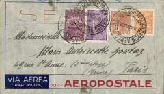 (Brazil) Pre-printed Aeropostale envelope postmarked Rio de Janeiro August 20, 1932 addressed to Paris with arrival b/s August 29th. Faint crease not affecting stamps.