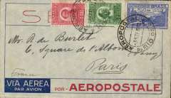 (Brazil) Pre-printed Aeropostale envelope postmarked Rio de Janeiro September 3, 1932 addressed to Paris with arrival b/s September 12th