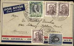 (Chile) GUILLAUMET FLIGHT, pre-printed Aeropostale envelope postmarked Valparaiso September 15, 1932 addressed to Husum (Germany) with arrival b/s September 27th. This cover was certainly flown across the Andes from Santiago (Chile) to Mendoza and then to Buenos Aires by famous pilot Henri Guillaumet.