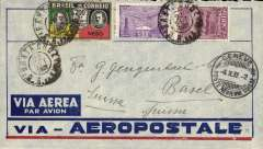 (Brazil) Pre-printed Aeropostale envelope postmarked Santa Cruz (Brazil) September 22, 1932 addressed to Basel (Switzerland) with no arrival b/s but with a Geneva transit b/s October 4th. All postmarks are on the front of the cover. Flap missing.