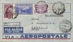 (Brazil) Pre-printed Aeropostale cover postmarked Santa Cruz (Brazil) September 22, 1932 to Basel (Switzerland). No arrival b/s but transit postmark of Geneva dated October 4.