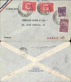 (Brazil) Cover postmarked Sao Paulo (Brazil) October 29, 1932 and addressed to Paris with arrival b/s November 7th. Airmail envelope.